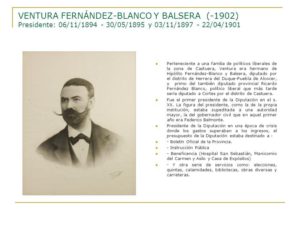 Perteneciente a una familia de políticos liberales de la zona de Castuera, Ventura era hermano de Hipólito Fernández-Blanco y Balsera, diputado por el