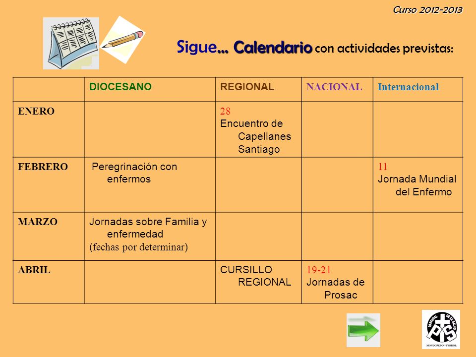 Curso 2012-2013 … Calendario Sigue … Calendario con actividades previstas: DIOCESANOREGIONAL NACIONALInternacional MAYO 6 Pascua del enfermo en Viveiro 6 PASCUA DEL ENFERMO JUNIO Peregrinación voluntarios de Galicia JUL - AG CURSO para Seminaristas SEPTIEMBRE JORNADAS NACIONALES LAS PARROQUIAS QUE DESEN COMUNICARNOS SU ACTIVIDADES CON GUSTO NOS UNIREMOS SIEMPRE QUE SEA POSIBLE