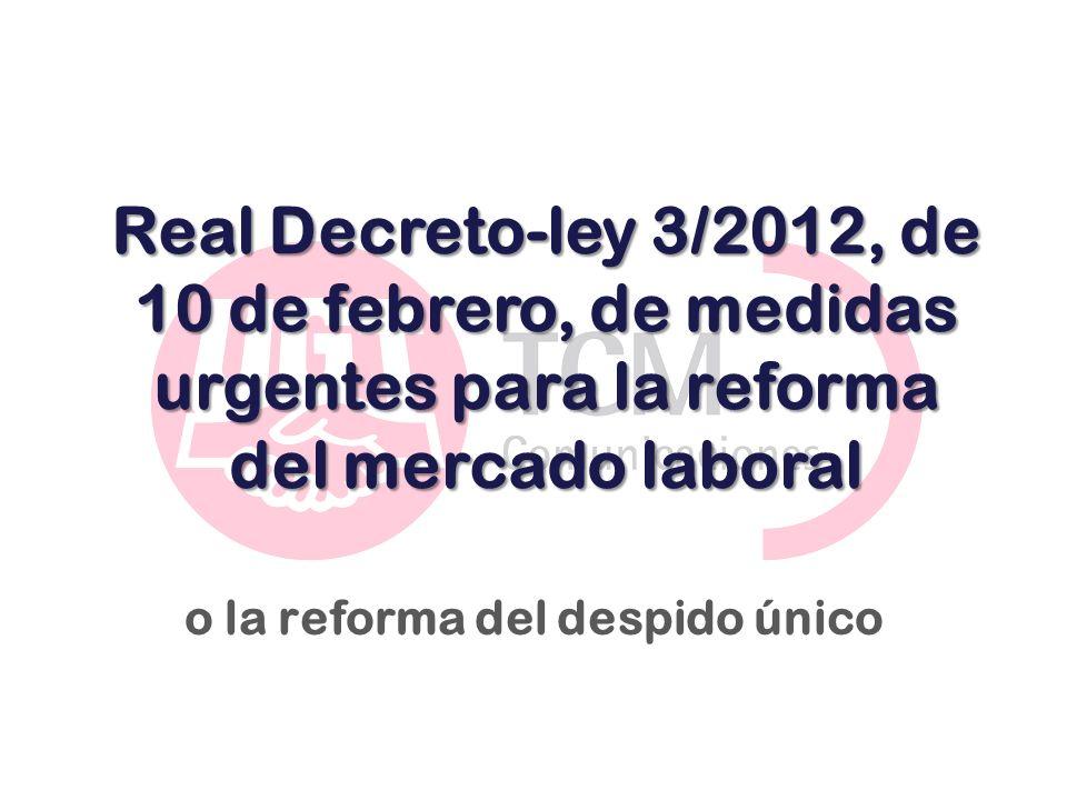 Real Decreto-ley 3/2012, de 10 de febrero, de medidas urgentes para la reforma del mercado laboral o la reforma del despido único