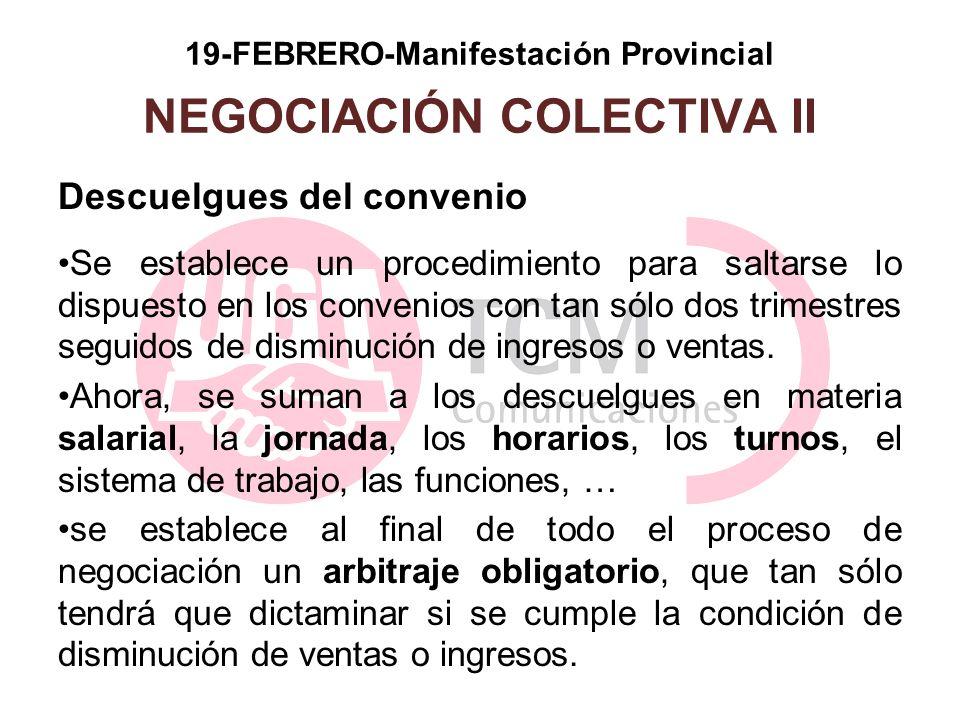 19-FEBRERO-Manifestación Provincial NEGOCIACIÓN COLECTIVA II Descuelgues del convenio Se establece un procedimiento para saltarse lo dispuesto en los