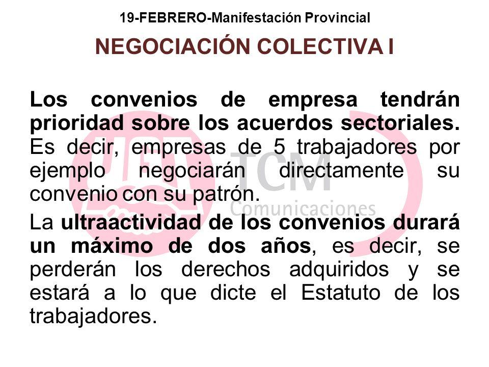 19-FEBRERO-Manifestación Provincial NEGOCIACIÓN COLECTIVA I Los convenios de empresa tendrán prioridad sobre los acuerdos sectoriales. Es decir, empre