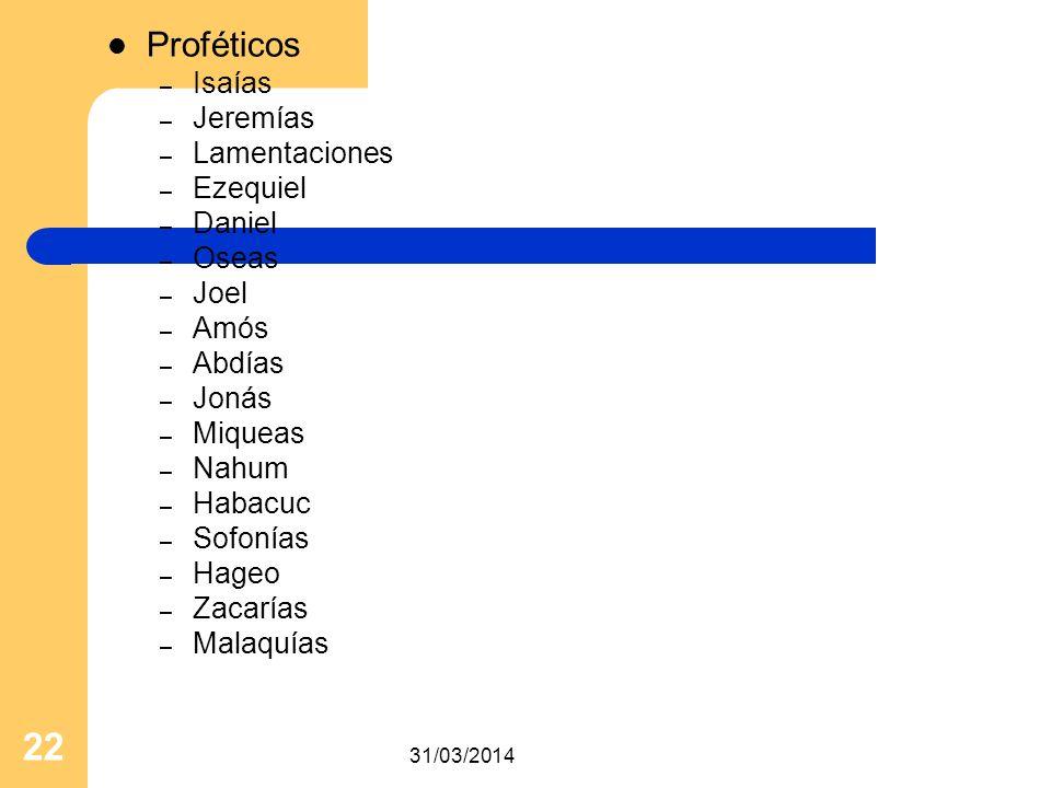 31/03/2014 22 Proféticos – Isaías – Jeremías – Lamentaciones – Ezequiel – Daniel – Oseas – Joel – Amós – Abdías – Jonás – Miqueas – Nahum – Habacuc –