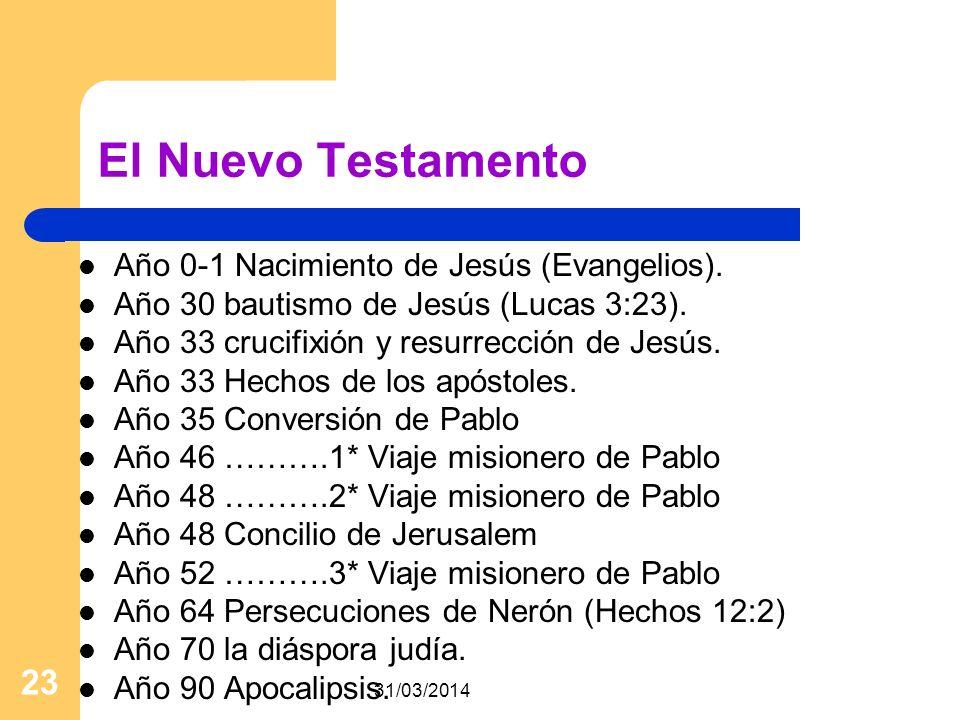 31/03/2014 23 El Nuevo Testamento Año 0-1 Nacimiento de Jesús (Evangelios). Año 30 bautismo de Jesús (Lucas 3:23). Año 33 crucifixión y resurrección d