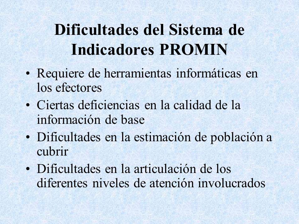Dificultades del Sistema de Indicadores PROMIN Requiere de herramientas informáticas en los efectores Ciertas deficiencias en la calidad de la informa