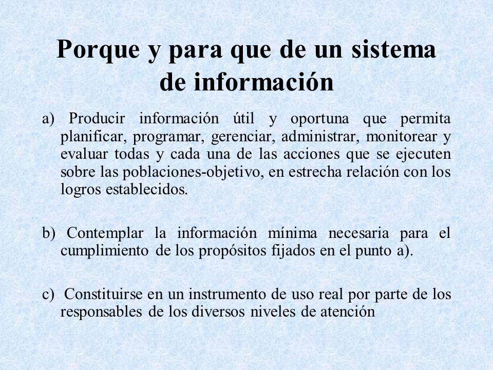 Porque y para que de un sistema de información a) Producir información útil y oportuna que permita planificar, programar, gerenciar, administrar, moni