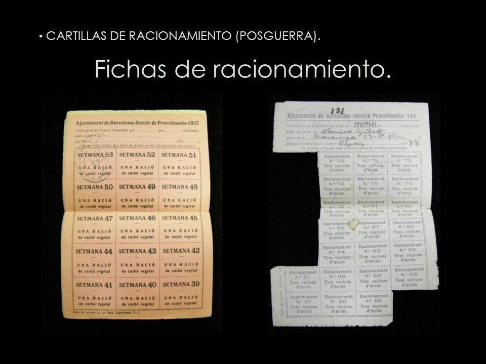 Fichas de racionamiento. CARTILLAS DE RACIONAMIENTO (POSGUERRA).