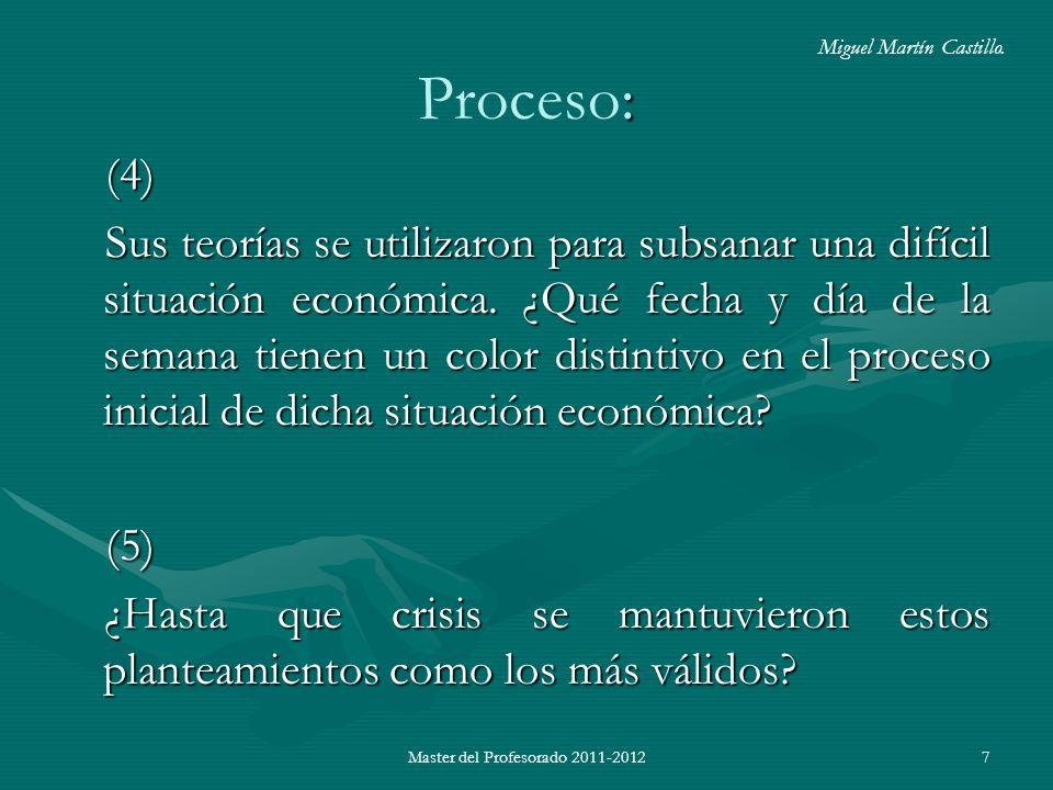 Master del Profesorado 2011-20127 : Proceso: (4) Sus teorías se utilizaron para subsanar una difícil situación económica. ¿Qué fecha y día de la seman