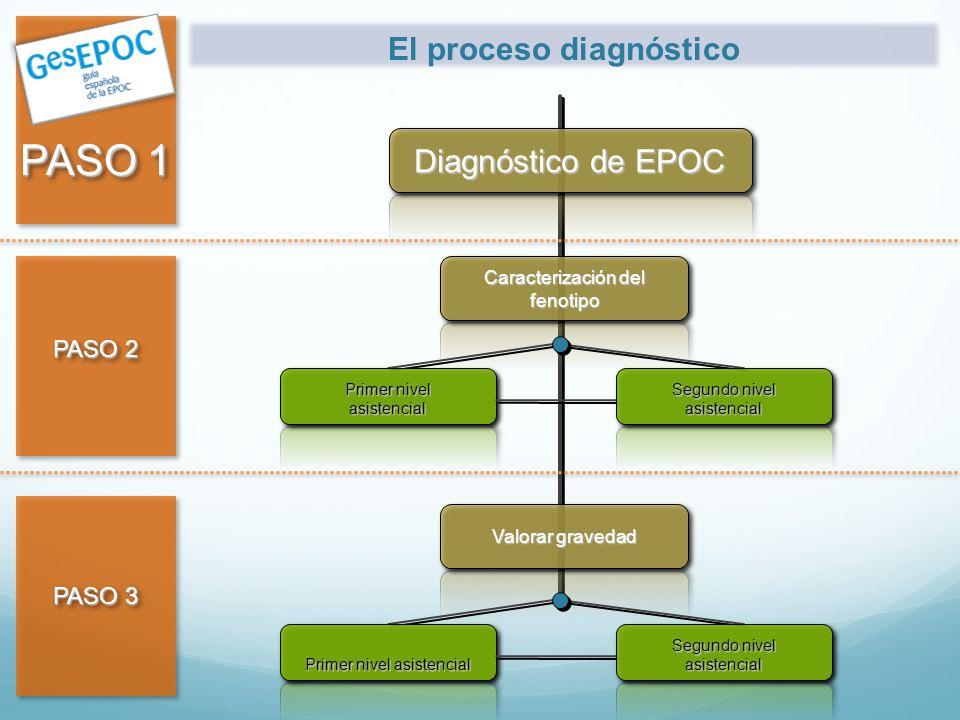 PASO 1 PASO 2 PASO 3 Diagnóstico de EPOC Valorar gravedad Caracterización del fenotipo Primer nivel asistencial Segundo nivel asistencial El proceso d