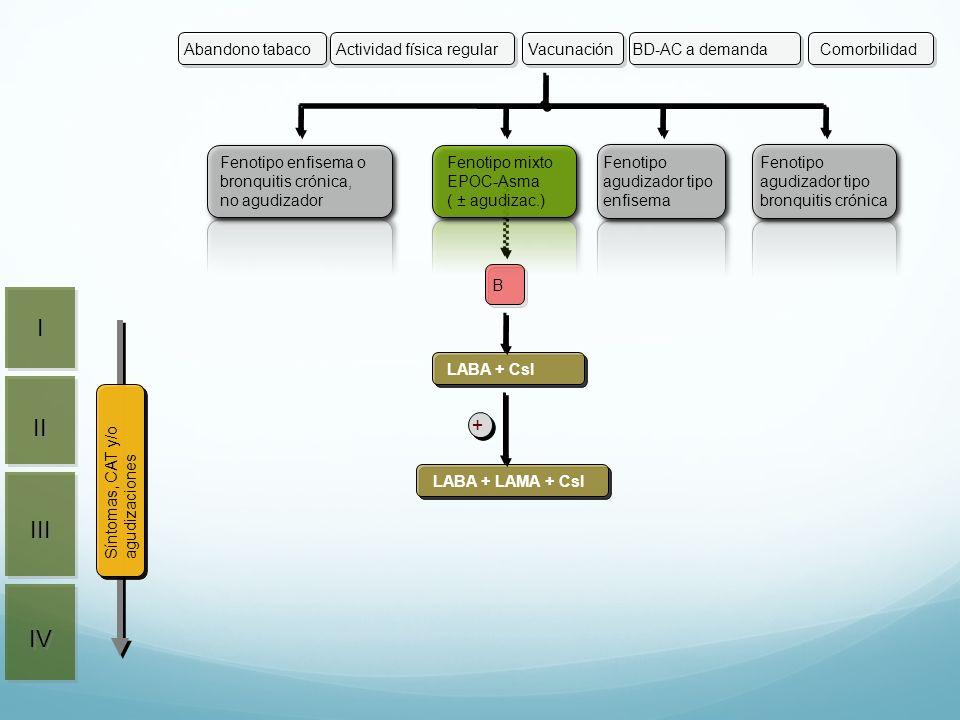 B LABA + CsI LABA + LAMA + CsI + II III IV I I Actividad física regularVacunaciónBD-AC a demandaAbandono tabacoComorbilidad Síntomas, CAT y/o agudizac