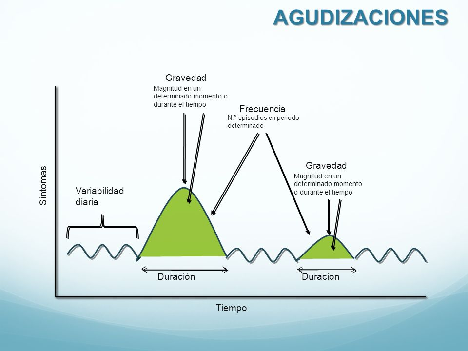 Duración Frecuencia N.º episodios en periodo determinado Gravedad Magnitud en un determinado momento o durante el tiempo Duración Gravedad Magnitud en