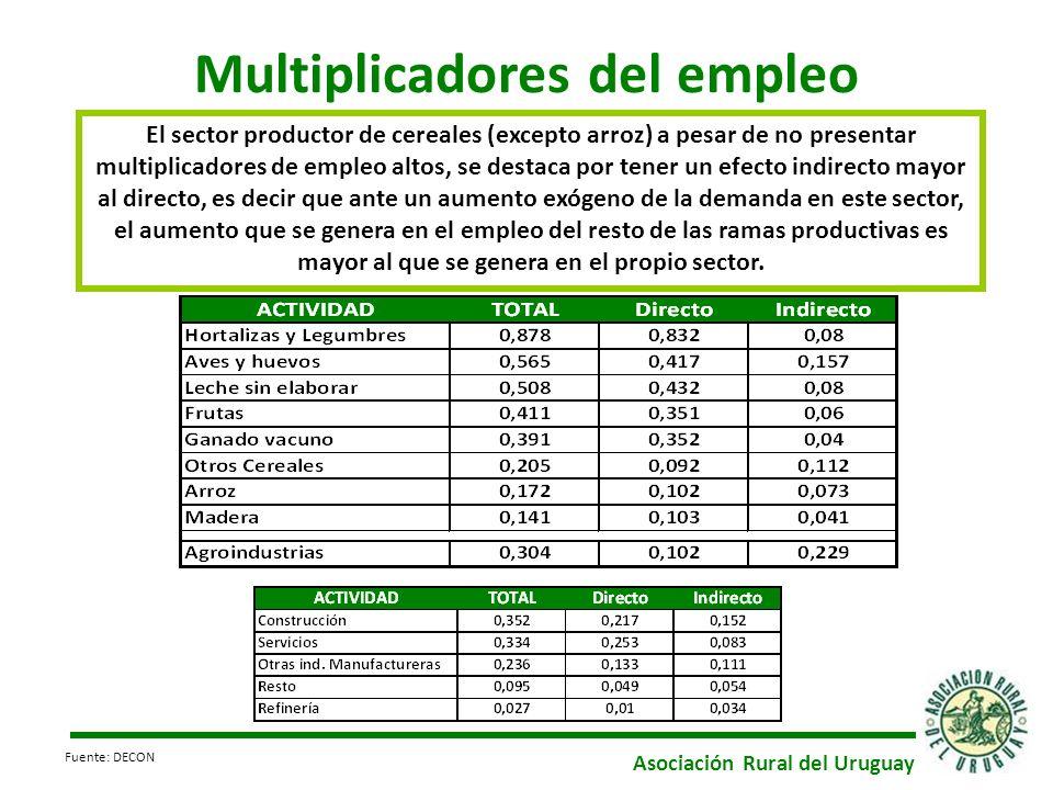 Multiplicadores del empleo El sector productor de cereales (excepto arroz) a pesar de no presentar multiplicadores de empleo altos, se destaca por ten