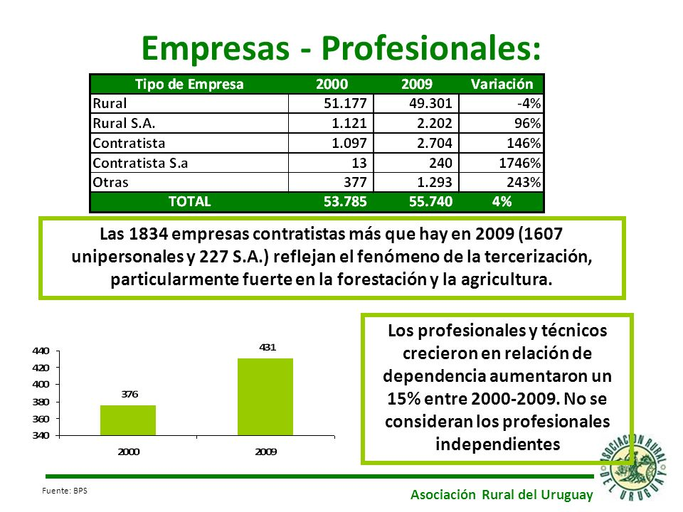Empresas - Profesionales: Los profesionales y técnicos crecieron en relación de dependencia aumentaron un 15% entre 2000-2009. No se consideran los pr