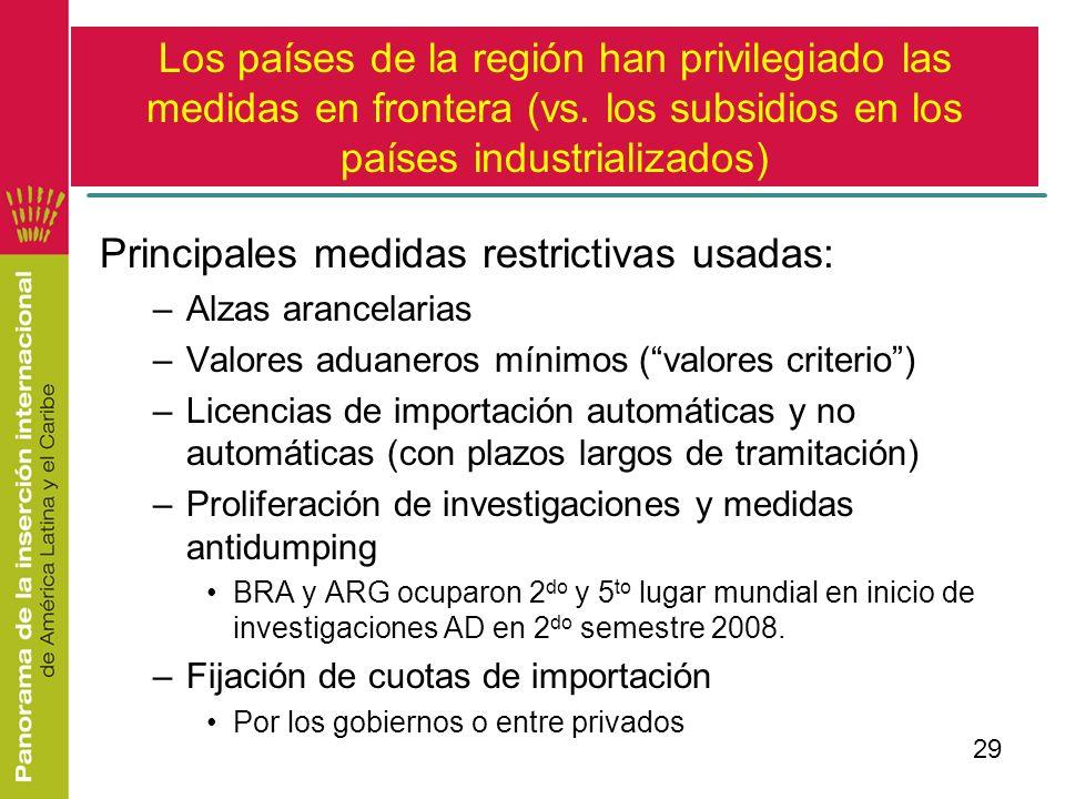 29 Los países de la región han privilegiado las medidas en frontera (vs. los subsidios en los países industrializados) Principales medidas restrictiva
