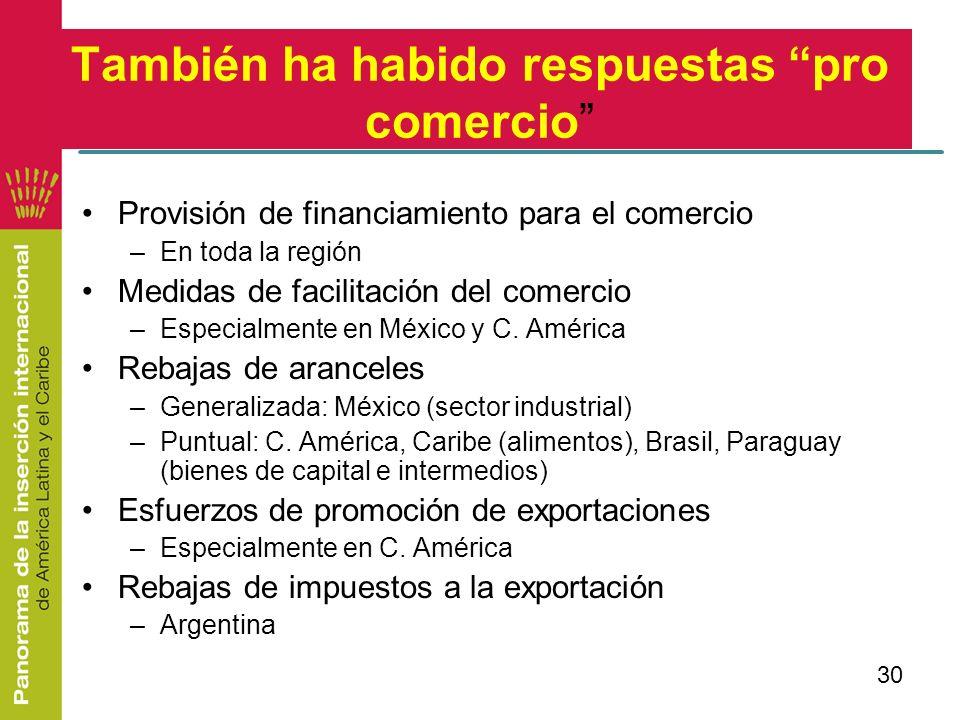 30 También ha habido respuestas pro comercio Provisión de financiamiento para el comercio –En toda la región Medidas de facilitación del comercio –Esp