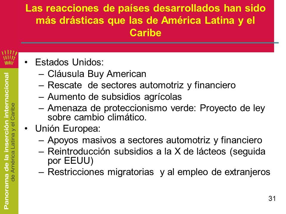 31 Las reacciones de países desarrollados han sido más drásticas que las de América Latina y el Caribe Estados Unidos: –Cláusula Buy American –Rescate