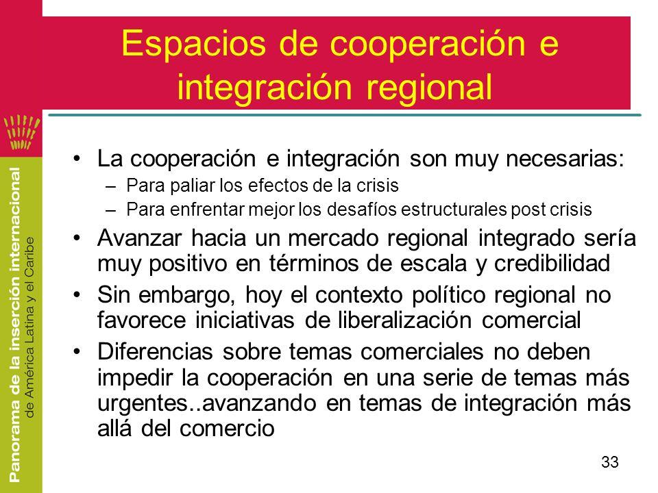 33 Espacios de cooperación e integración regional La cooperación e integración son muy necesarias: –Para paliar los efectos de la crisis –Para enfrent