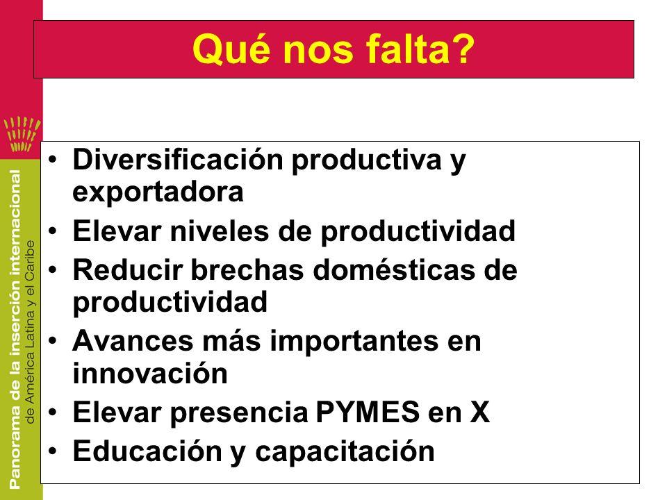 Qué nos falta? Diversificación productiva y exportadora Elevar niveles de productividad Reducir brechas domésticas de productividad Avances más import
