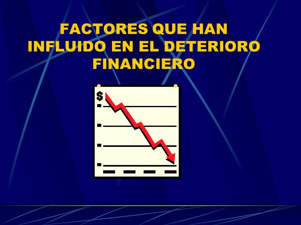 FACTORES QUE HAN INFLUIDO EN EL DETERIORO FINANCIERO