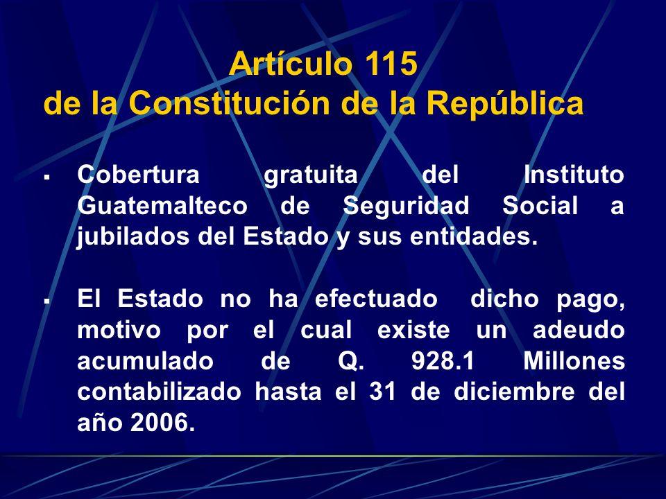 Artículo 115 de la Constitución de la República Cobertura gratuita del Instituto Guatemalteco de Seguridad Social a jubilados del Estado y sus entidad