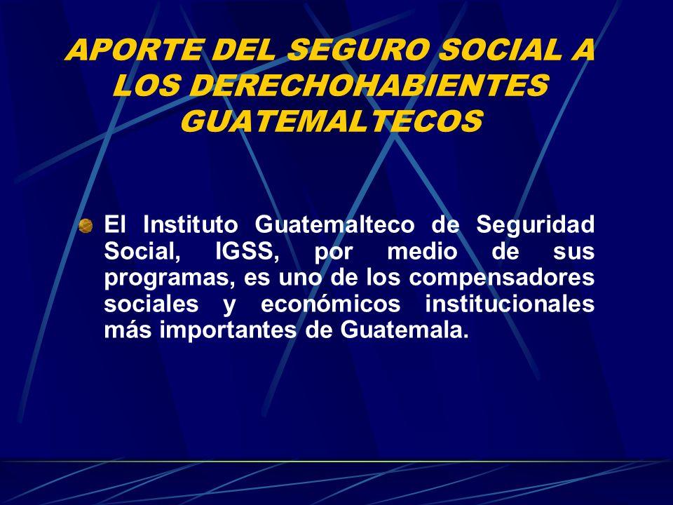 APORTE DEL SEGURO SOCIAL A LOS DERECHOHABIENTES GUATEMALTECOS El Instituto Guatemalteco de Seguridad Social, IGSS, por medio de sus programas, es uno