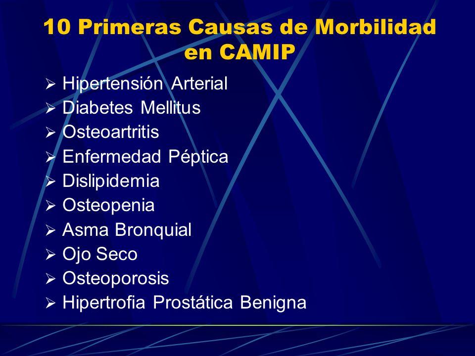 10 Primeras Causas de Morbilidad en CAMIP Hipertensión Arterial Diabetes Mellitus Osteoartritis Enfermedad Péptica Dislipidemia Osteopenia Asma Bronqu