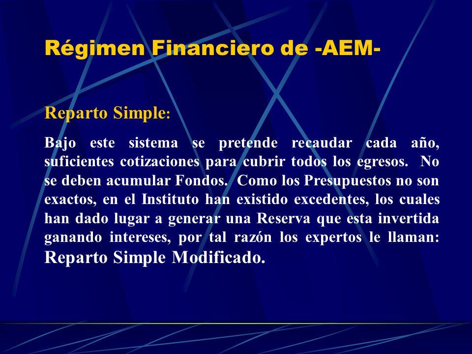 Régimen Financiero de -AEM- Reparto Simple : Bajo este sistema se pretende recaudar cada año, suficientes cotizaciones para cubrir todos los egresos.