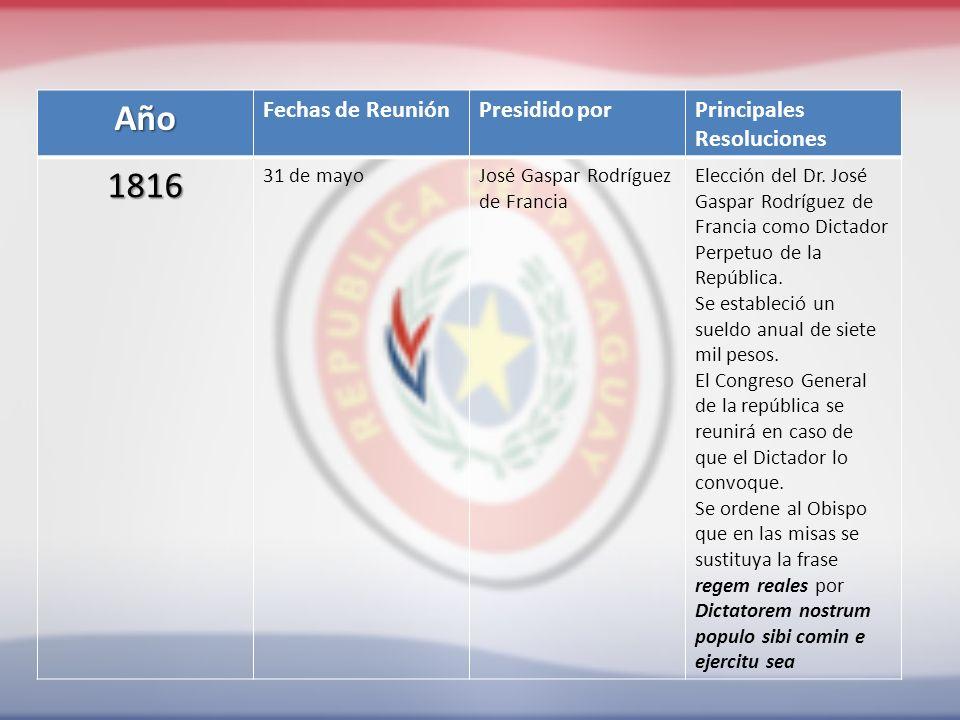 Año Fechas de ReuniónPresidido porPrincipales Resoluciones 1816 31 de mayoJosé Gaspar Rodríguez de Francia Elección del Dr.