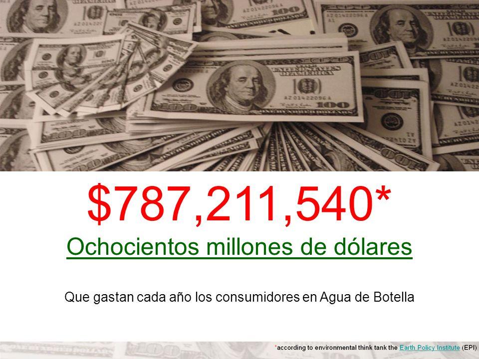 $787,211,540* Ochocientos millones de dólares Que gastan cada año los consumidores en Agua de Botella
