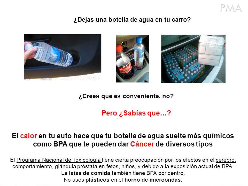 ¿Dejas una botella de agua en tu carro? ¿Crees que es conveniente, no? Pero ¿Sabías que…? El calor en tu auto hace que tu botella de agua suelte más q