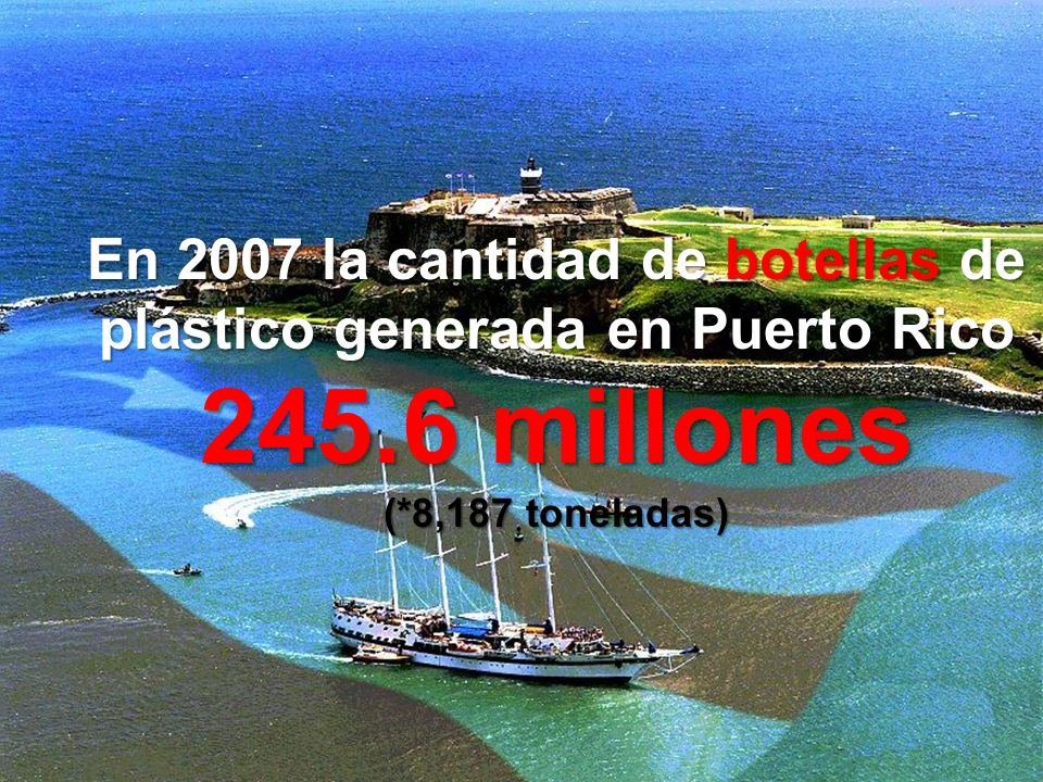 En 2007 la cantidad de botellas de plástico generada en Puerto Rico 245.6 millones (*8,187 toneladas)