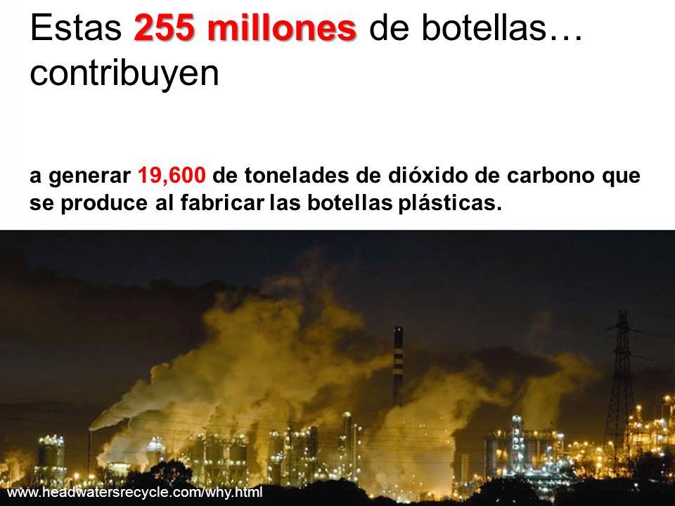 255 millones Estas 255 millones de botellas… contribuyen a generar 19,600 de tonelades de dióxido de carbono que se produce al fabricar las botellas plásticas.