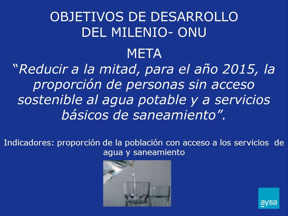 OBJETIVOS DE DESARROLLO DEL MILENIO- ONU METAReducir a la mitad, para el año 2015, la proporción de personas sin acceso sostenible al agua potable y a
