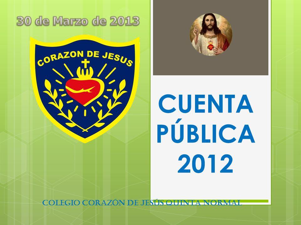 CUENTA PÚBLICA 2012 COLEGIO CORAZÓN DE JESÚS QUINTA NORMAL