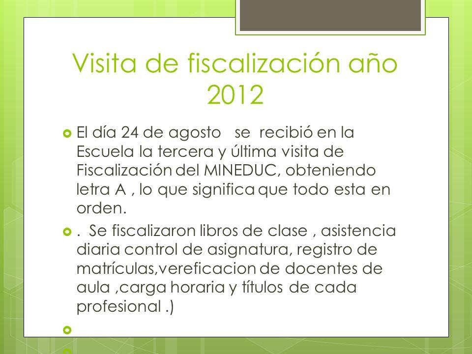 Visita de fiscalización año 2012 El día 24 de agosto se recibió en la Escuela la tercera y última visita de Fiscalización del MINEDUC, obteniendo letr