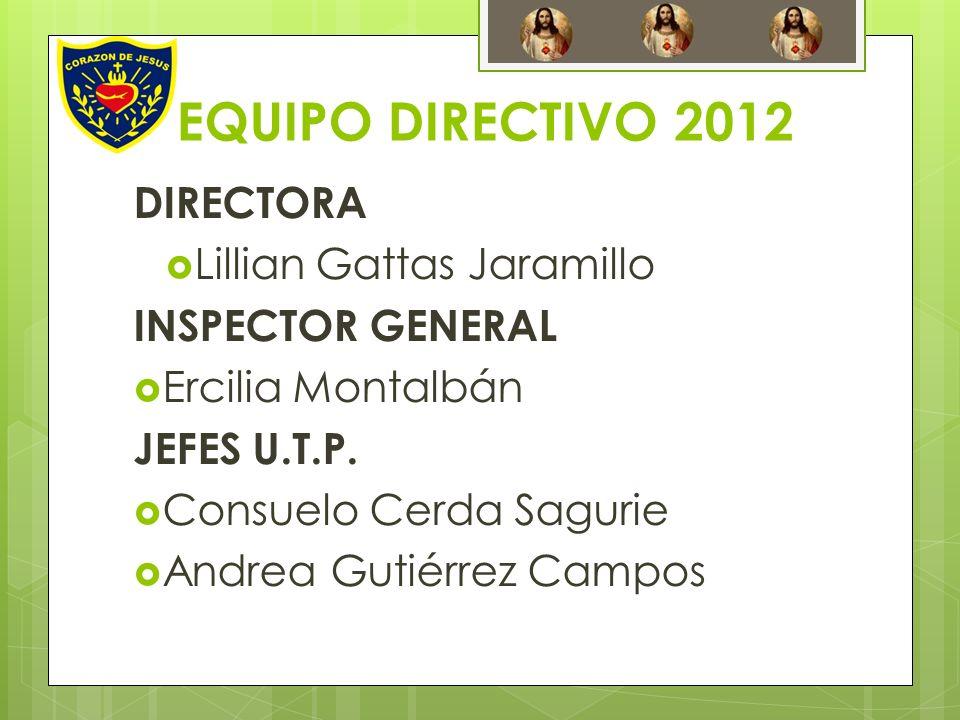 EQUIPO DIRECTIVO 2012 DIRECTORA Lillian Gattas Jaramillo INSPECTOR GENERAL Ercilia Montalbán JEFES U.T.P. Consuelo Cerda Sagurie Andrea Gutiérrez Camp