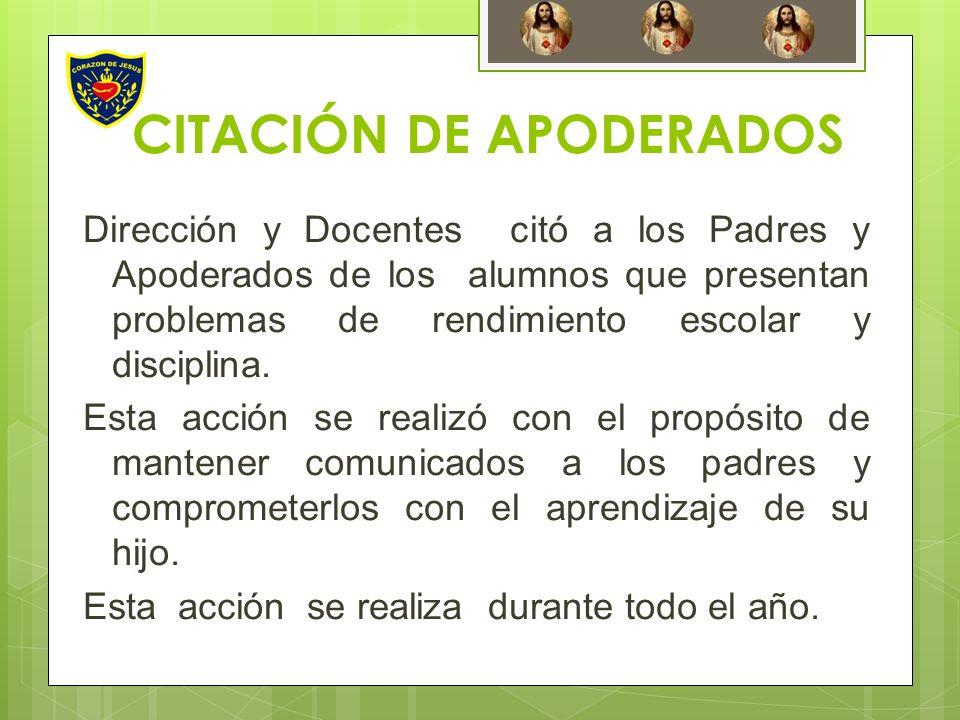 CITACIÓN DE APODERADOS Dirección y Docentes citó a los Padres y Apoderados de los alumnos que presentan problemas de rendimiento escolar y disciplina.