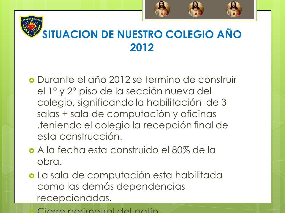 SITUACION DE NUESTRO COLEGIO AÑO 2012 Durante el año 2012 se termino de construir el 1° y 2° piso de la sección nueva del colegio, significando la hab