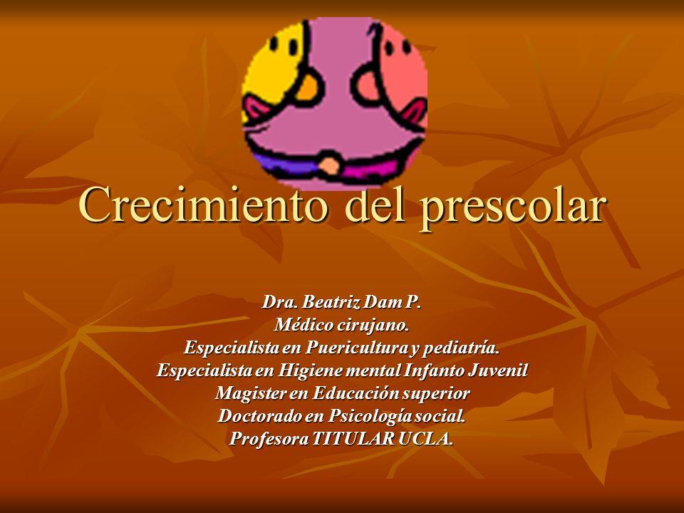 Crecimiento del prescolar Dra. Beatriz Dam P. Médico cirujano.