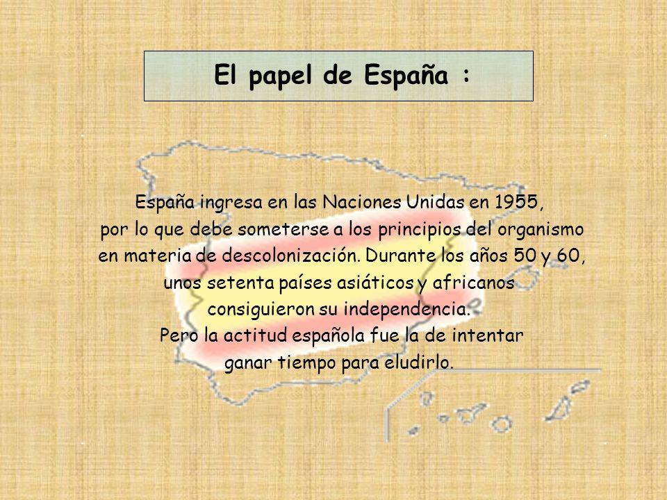 España ingresa en las Naciones Unidas en 1955, por lo que debe someterse a los principios del organismo en materia de descolonización.