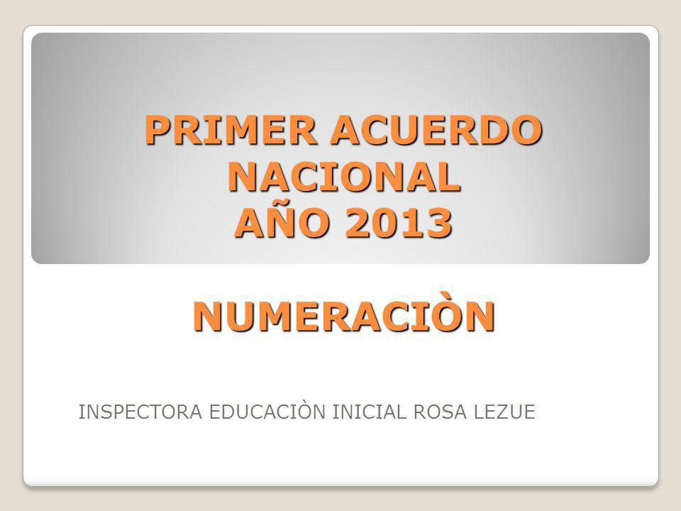PRIMER ACUERDO NACIONAL AÑO 2013 NUMERACIÒN INSPECTORA EDUCACIÒN INICIAL ROSA LEZUE