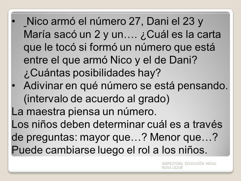 Nico armó el número 27, Dani el 23 y María sacó un 2 y un…. ¿Cuál es la carta que le tocó si formó un número que está entre el que armó Nico y el de D