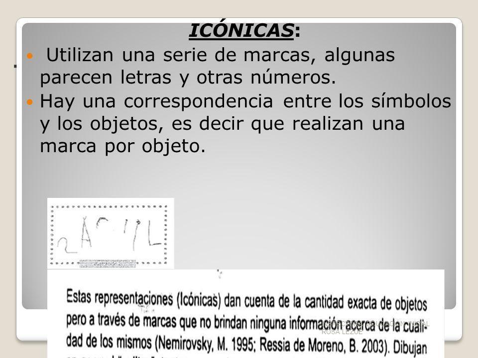 ICÓNICAS: Utilizan una serie de marcas, algunas parecen letras y otras números. Hay una correspondencia entre los símbolos y los objetos, es decir que