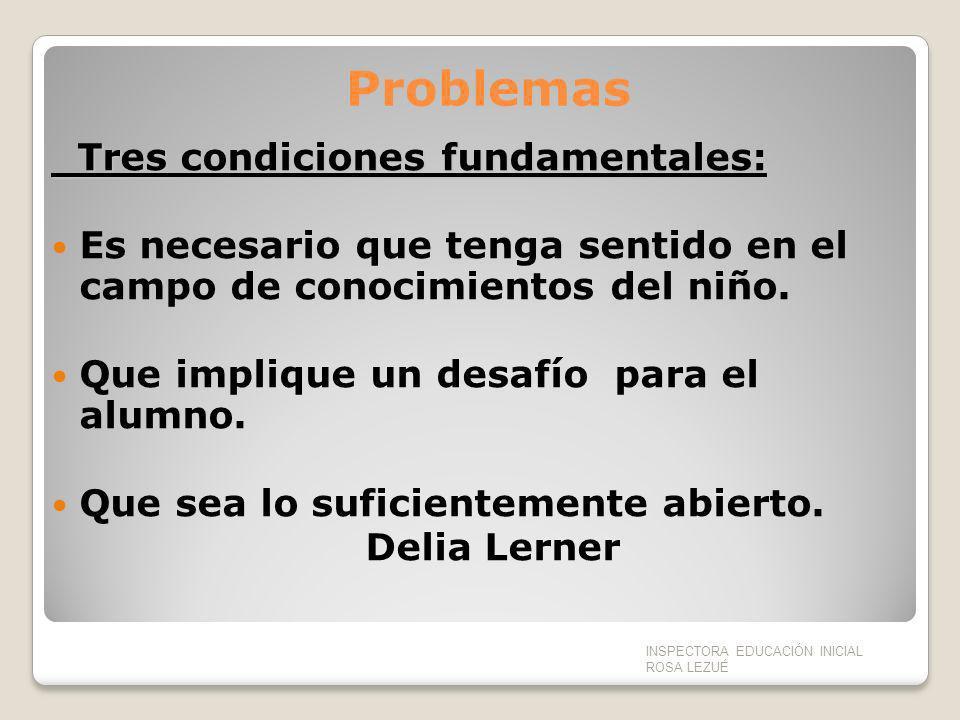 Problemas Tres condiciones fundamentales: Tres condiciones fundamentales: Es necesario que tenga sentido en el campo de conocimientos del niño. Que im