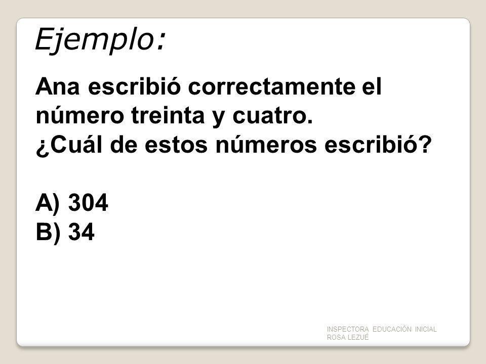 Ejemplo: Ana escribió correctamente el número treinta y cuatro. ¿Cuál de estos números escribió? A) 304 B) 34 INSPECTORA EDUCACIÓN INICIAL ROSA LEZUÉ