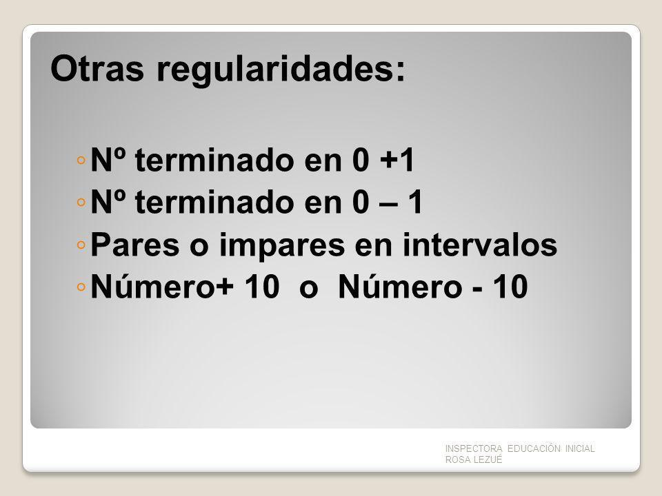 Otras regularidades: Nº terminado en 0 +1 Nº terminado en 0 – 1 Pares o impares en intervalos Número+ 10 o Número - 10 INSPECTORA EDUCACIÓN INICIAL RO