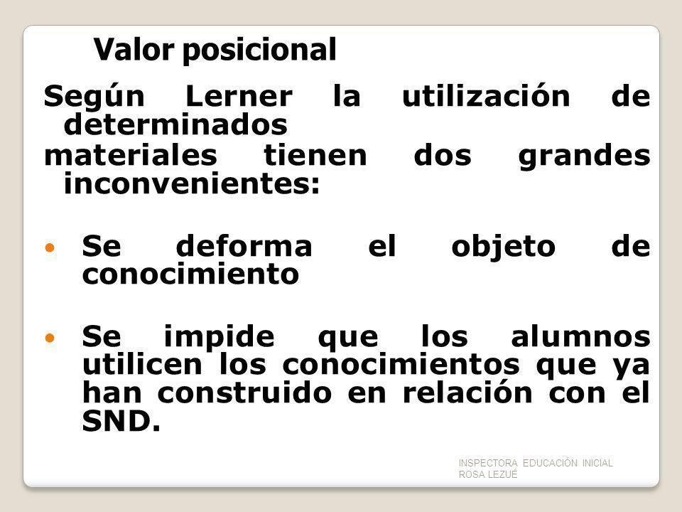 Según Lerner la utilización de determinados materiales tienen dos grandes inconvenientes: Se deforma el objeto de conocimiento Se impide que los alumn