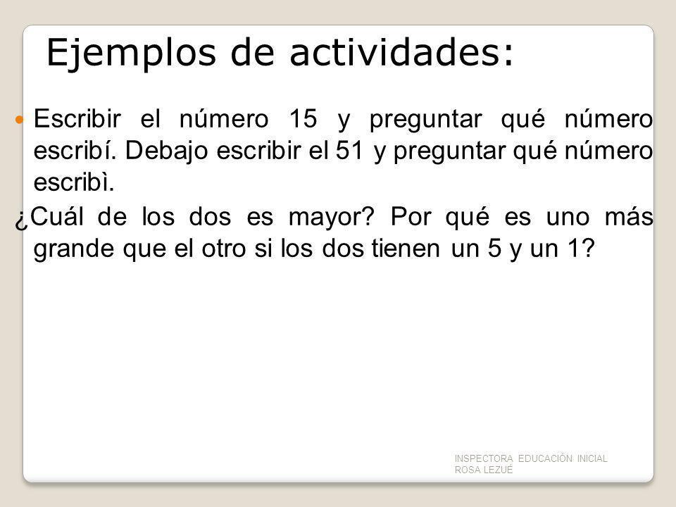 Ejemplos de actividades: Escribir el número 15 y preguntar qué número escribí. Debajo escribir el 51 y preguntar qué número escribì. ¿Cuál de los dos