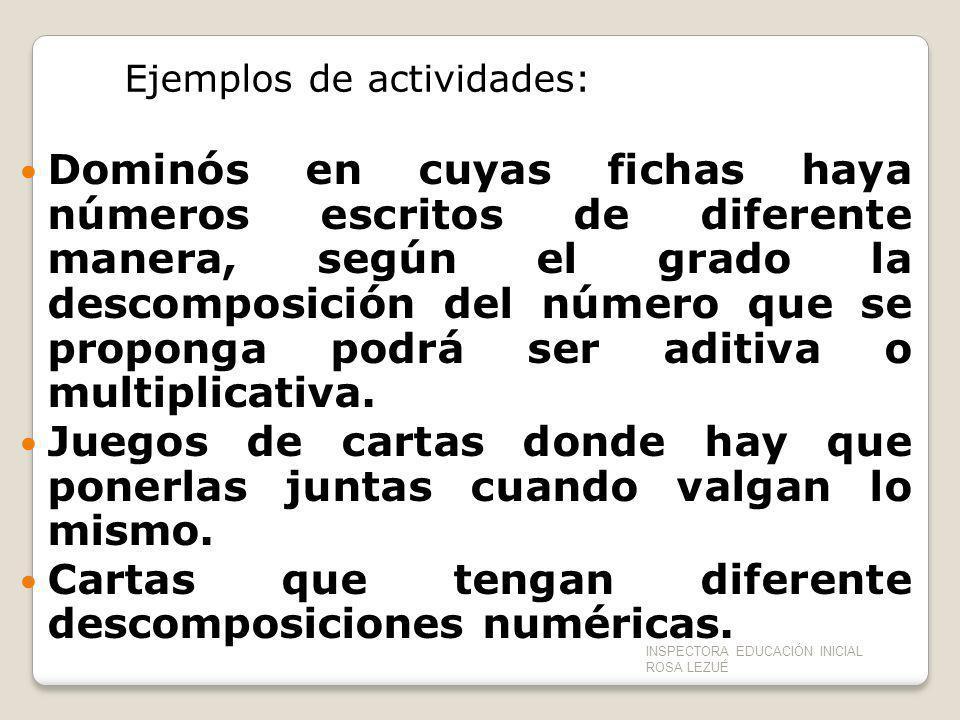 Ejemplos de actividades: Dominós en cuyas fichas haya números escritos de diferente manera, según el grado la descomposición del número que se propong
