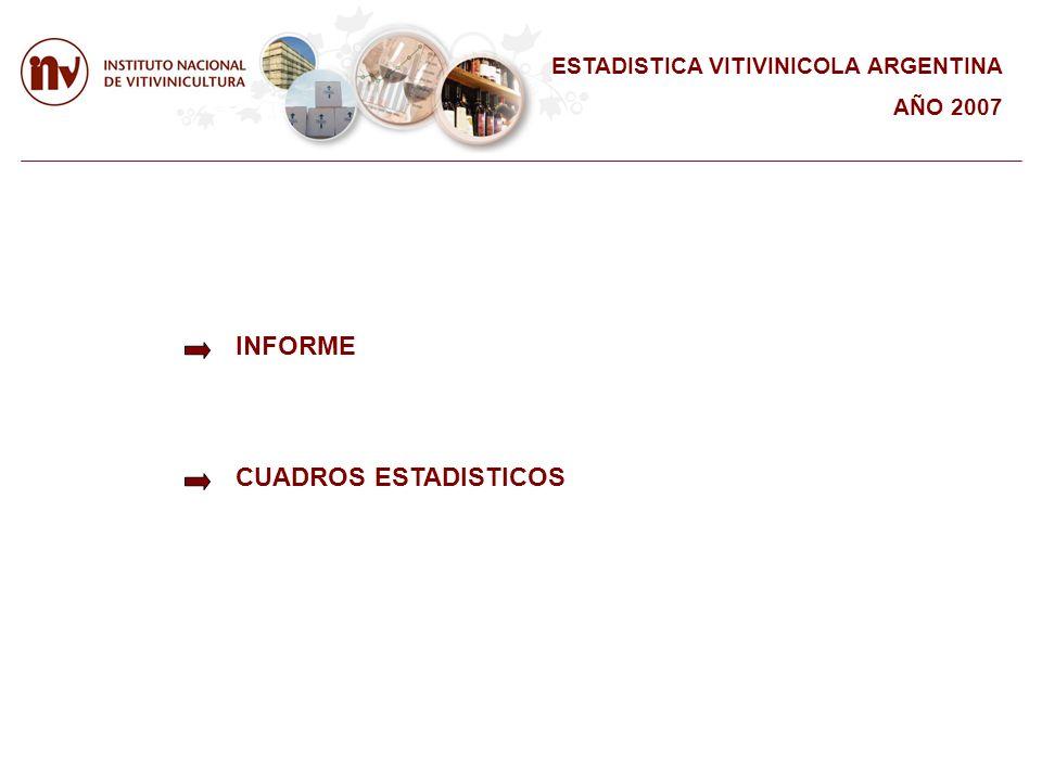 INFORME CUADROS ESTADISTICOS ESTADISTICA VITIVINICOLA ARGENTINA AÑO 2007