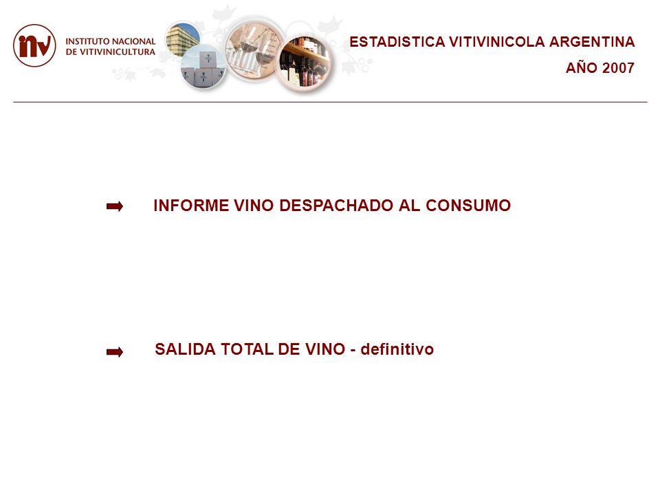 INFORME VINO DESPACHADO AL CONSUMO SALIDA TOTAL DE VINO - definitivo ESTADISTICA VITIVINICOLA ARGENTINA AÑO 2007